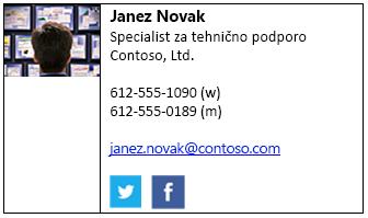 Blok s podpisom po meri s sliko in družabnih omrežij ikone