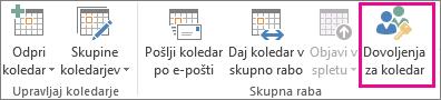 Gumb »Dovoljenja koledarja« na zavihku »Osnovno« v programu Outlook 2013 Home