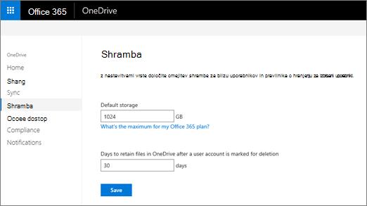 Zavihek »Shramba« v skrbniškem središču za OneDrive