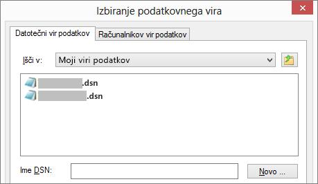 Pogovorno okno »Izberi vir podatkov«