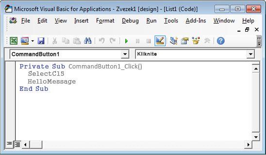 Podpostopek v urejevalniku za Visual Basic