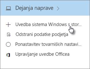 Na kartici z dejanji naprave izberite »Uvedba sistema Windows s storitvijo Autopilot«.