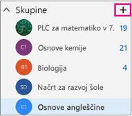 Levo podokno za krmarjenje v Outlooku v spletu z označenim gumbom za ustvarjanje