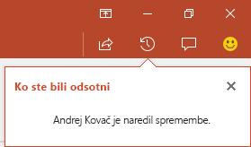 PowerPoint za Office 365 pokaže, kdo je med vašo odsotnostjo spremenil vašo datoteko v skupni rabi.