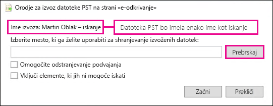Orodje za izvoz datoteke PST na strani »e-odkrivanje«