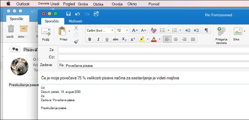Velikost pisave v aplikaciji Outlook za Mac 2011