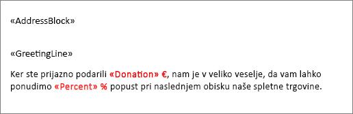 V vzorčnem spojenem dokumentu je dolarski znak pred poljem »Donacija« in znak za odstotke pred poljem »Odstotek«.