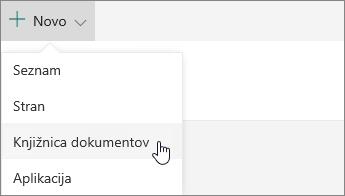 Meni »Novo« v storitvi SharePoint Online