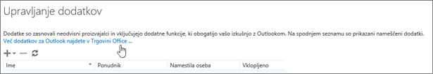 Prikazuje del strani »Upravljanje dodatkov«, kjer so navedeni nameščeni dodatki in povezava do iskanja več dodatkov za Outlook v Trgovini Office.