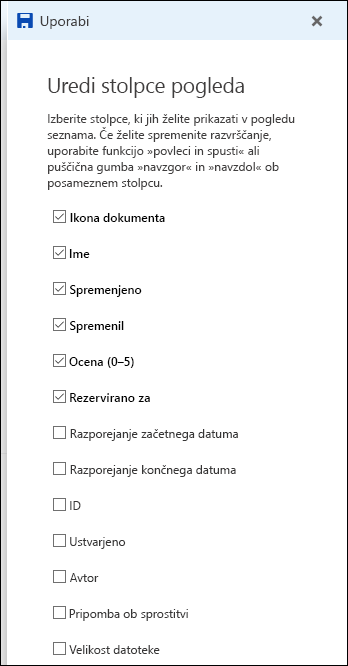 Urejanje pogleda seznama v knjižnici dokumentov