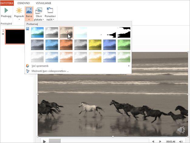 Sprememba barve videovsebine
