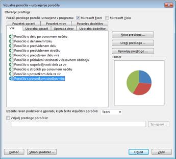 Pogovorno okno »Ogled poročil« in seznam predlog za vizualna poročila v Excelu
