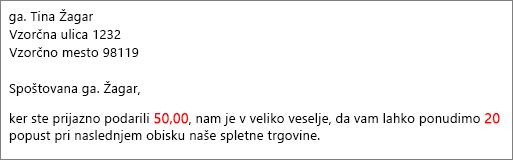 V dokumentu z rezultati spajanja dokumentov je napisano »vaš prispevek 50,00 EUR« in »ponudba za 20-odstotni popust«.