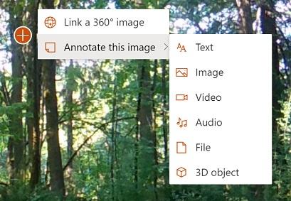 Meni, ki prikazuje možnosti za slikovne pripombe za 360 °, vključno z besedilom, slikami, videoposnetki, zvokom, datotečnimi in 3D-vrstami pripomb predmetov