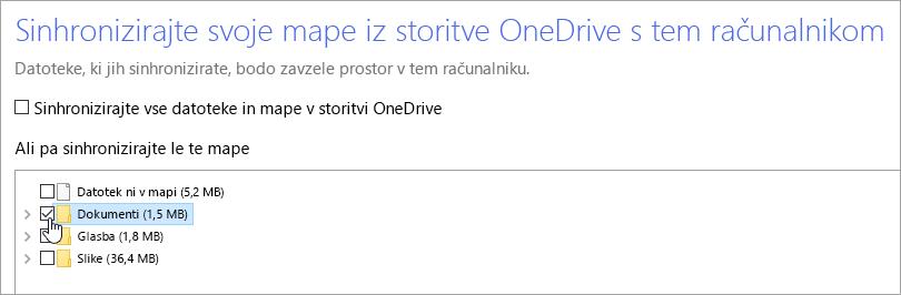 Posnetek zaslona s prikazanim pogovornim oknom »Sinhronizirajte svoje mape iz storitve OneDrive s tem računalnikom«.