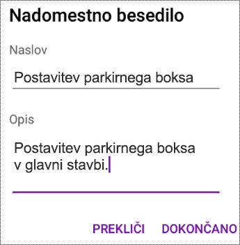Dodajanje nadomestnega besedila slikam v OneNotu za Android