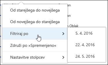 Filtriranje pogled knjižnice dokumentov v storitvi Office 365