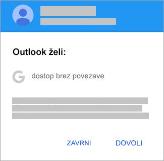 Tapnite »Dovoli«, da omogočite Outlooku dostop brez povezave.