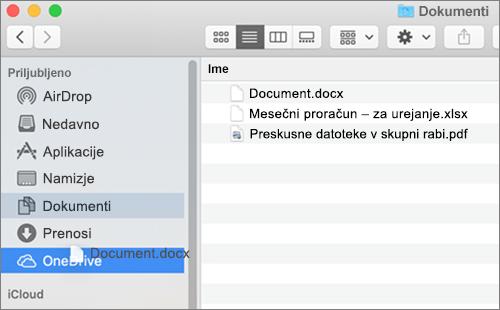 Okno Finder Mac prikazuje» povleci in spusti «za premikanje datotek