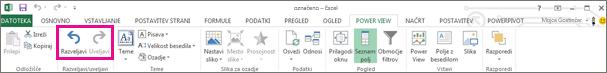 Uveljavljanje in razveljavljanje v funkciji Power View
