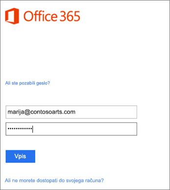 V Outlooku se vpišite v račun organizacije