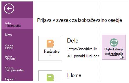 Ogled stanja sinhronizacije OneNotovih zapiskov.