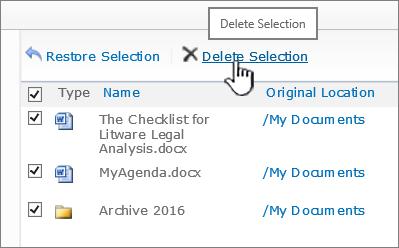 Brisanje vseh datotek v košu programa SharePoint 2010