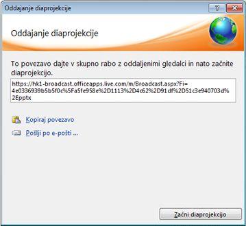 Pogovorno okno »Oddajanje diaprojekcije« s spletnim naslovom diaprojekcije.