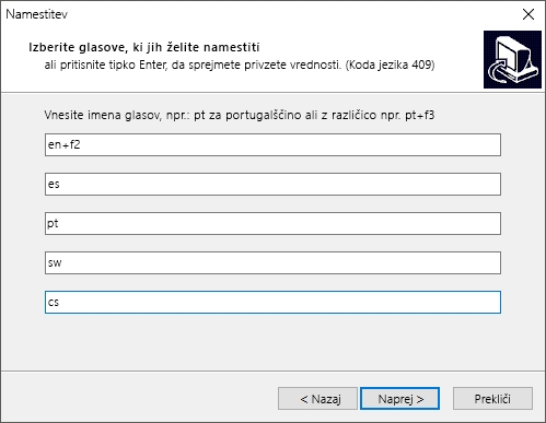 Pogovorno okno postopka namestitve ponudnika eSpeak