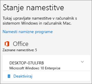 Prikaže ukaz »Dezaktiviraj« za namestitev storitve Office 365 za podjetja