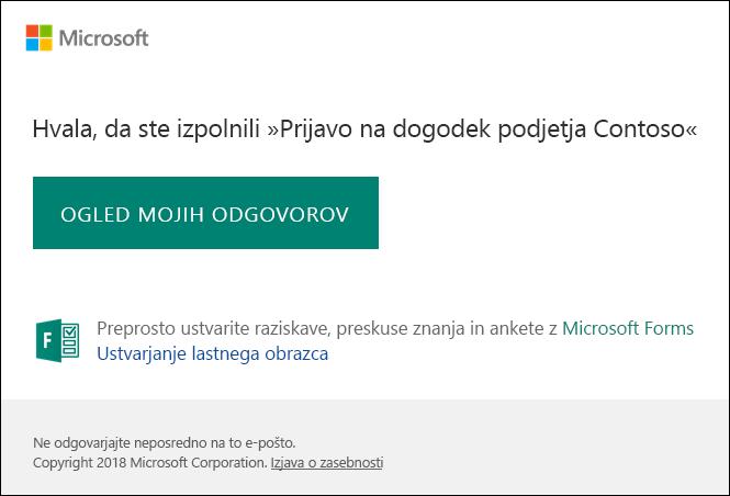 Potrditveno e-poštno sporočilo in povezave za odgovor v Microsoft Forms