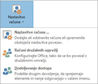 Posnetek zaslona dodajanja pooblaščenca v Outlook