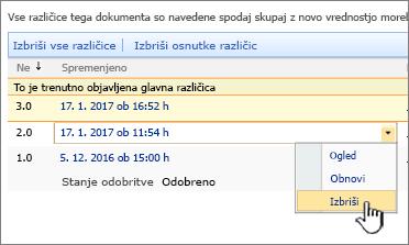 Spustni seznam shranjevanja različic za datoteko z označeno možnostjo za brisanje