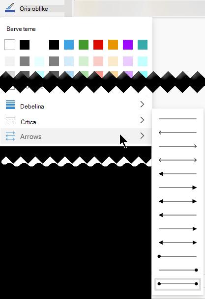 Visio za splet omogoča več možnosti za smer in slog puščic.