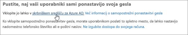 Kliknite povezavo do skrbniškega središča za Azure.