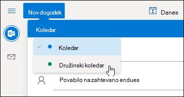 Posnetek zaslona spustnega menija» izbor koledarja «