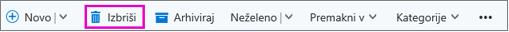 Gumb »Izbriši« na traku v Outlooku