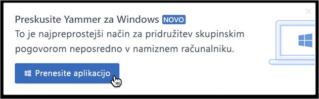 Pošiljanje sporočil v izdelku za Windows