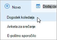 Ustvarjanje novega spletnega sestanka