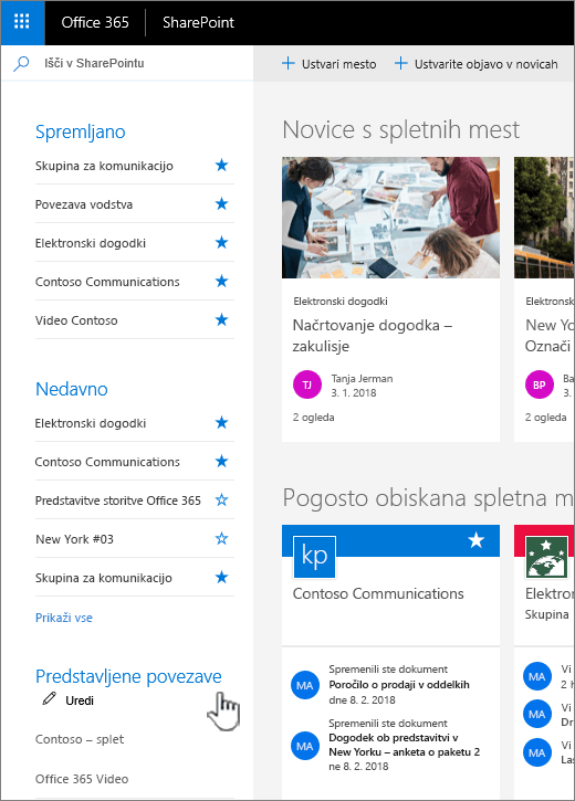 Seznam povezav na SharePointovih spletnih domači strani