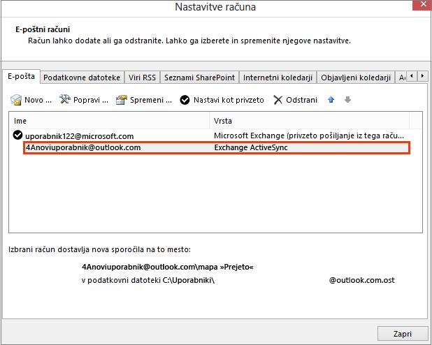 Nastavitve Outlookovega računa, e-poštni računi