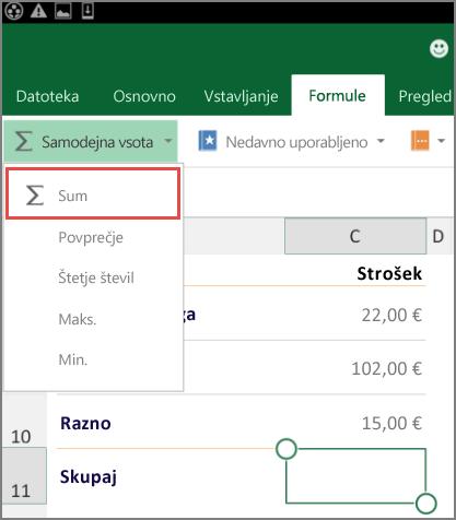 Trak v Excelu za Android dostop do menija