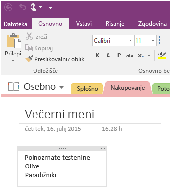 Če želite dodati zapiske v programu OneNote 2016, preprosto začnite vnašati besedilo na strani.