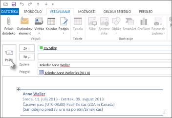 Pošljite koledar prek e-pošte sodelavcu