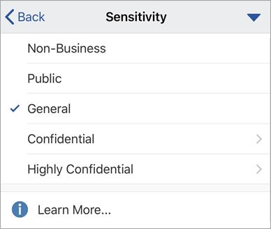 Posnetek zaslona z oznakami občutljivosti v sistemu Office za iOS