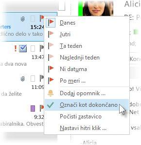 Ukaz »Označi kot dokončano« v meniju desnega klika na seznamu sporočil
