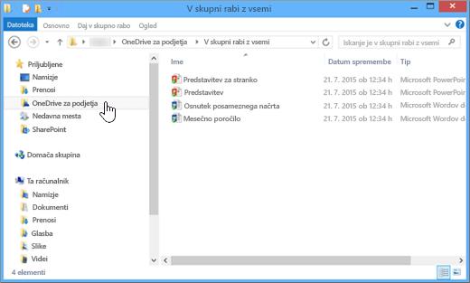 Posnetek zaslona v Raziskovalcu po sinhronizaciji datoteke programa OneDrive za podjetja in namizja