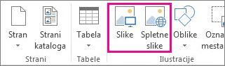 Posnetek zaslona možnosti vstavljanja slik v meniju »Vstavljanje« v Publisherju.
