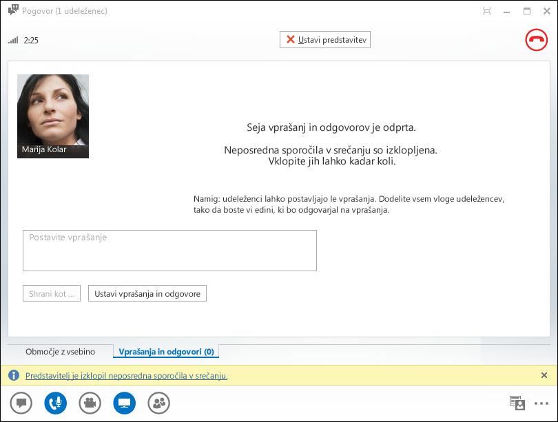 Posnetek zaslona okna upravitelja za vprašanja in odgovore