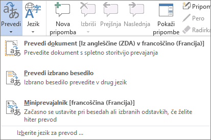 Prevajanje dokumenta ali sporočila